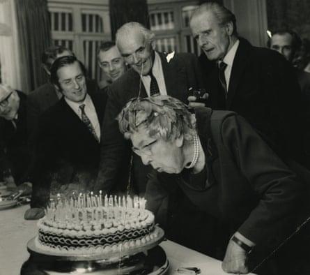Agatha Christie celebrating her 80th birthday in London, 1970.