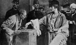 Women queuing up to cast their votes for the first time in the General Election, 18 December 1918.
