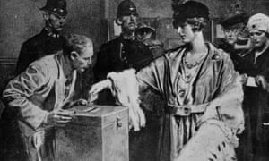 Women queuing up to cast their votes for the first time in the general election, December 1918.