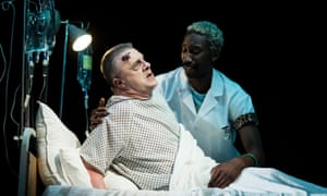 Nathan Lane (Roy Cohn) and Nathan Stewart-Jarrett (Belize) in Angels in America.