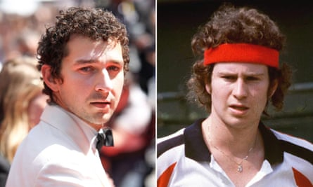 His backhand is 'getting there' … Shia Labeouf (left) is in training to play John McEnroe (right).