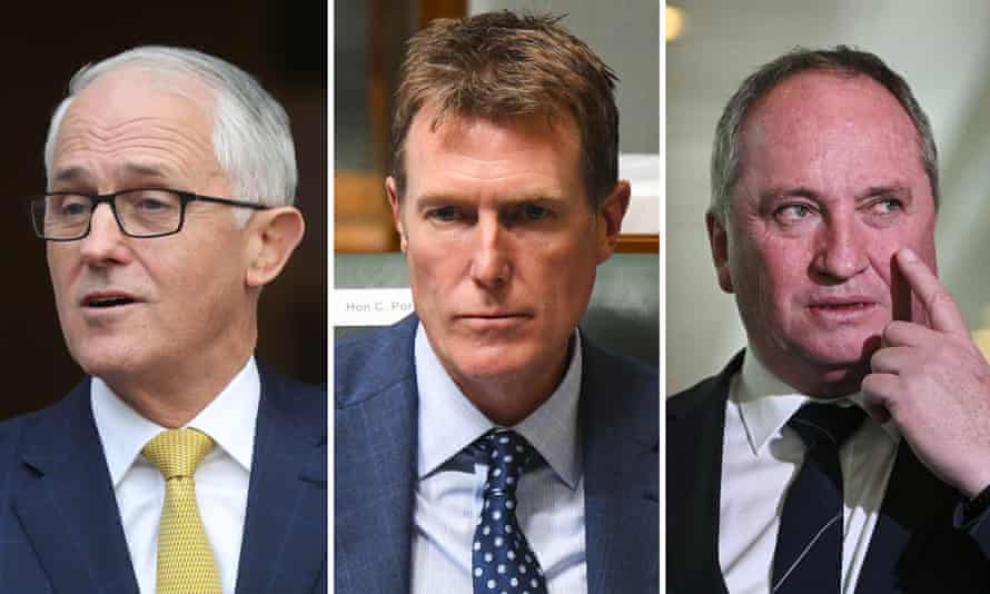 Former prime minister Malcolm Turnbull, Australian attorney general Christian Porter and Nationals MP Barnaby Joyce