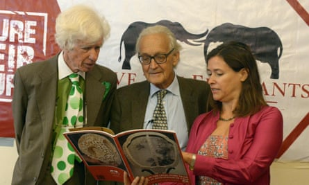 Ivory researchers Lucy Vigne (R) and Esmond Martin (L) and Iain Douglas -Hamilton, founder of Save The Elephants (STE) announce their findings.