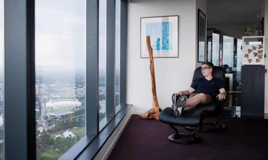 Gideon Aroni in the Eureka Tower in Melbourne.