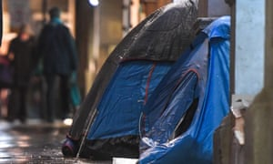 Tents outside a building in London last month.