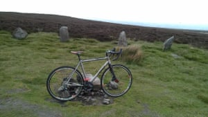 Bike propped up with moorland in the background