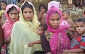 Hindu women who crossed into Bangladesh after an alleged attack in Myanmar's Rakhine state