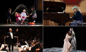 clockwise from top right: Hamburg State Opera's Falstaff, pianist Martha Argerich, La Monnaie's Aida and th Budapest Festival Orchestra conducted by Iván Fischer.