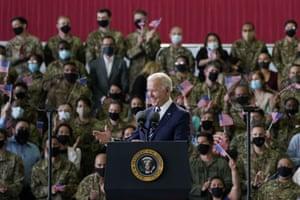 Suffolk, UKPresident Joe Biden speaks to American service members at RAF Mildenhall before heading to Cornwall for the G7 summit