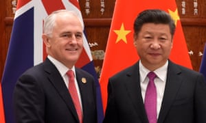 The prime minister, Malcolm Turnbull, and the Chinese president, Xi Jinping: 'From time to time there are differences in perception,' says Turnbull.