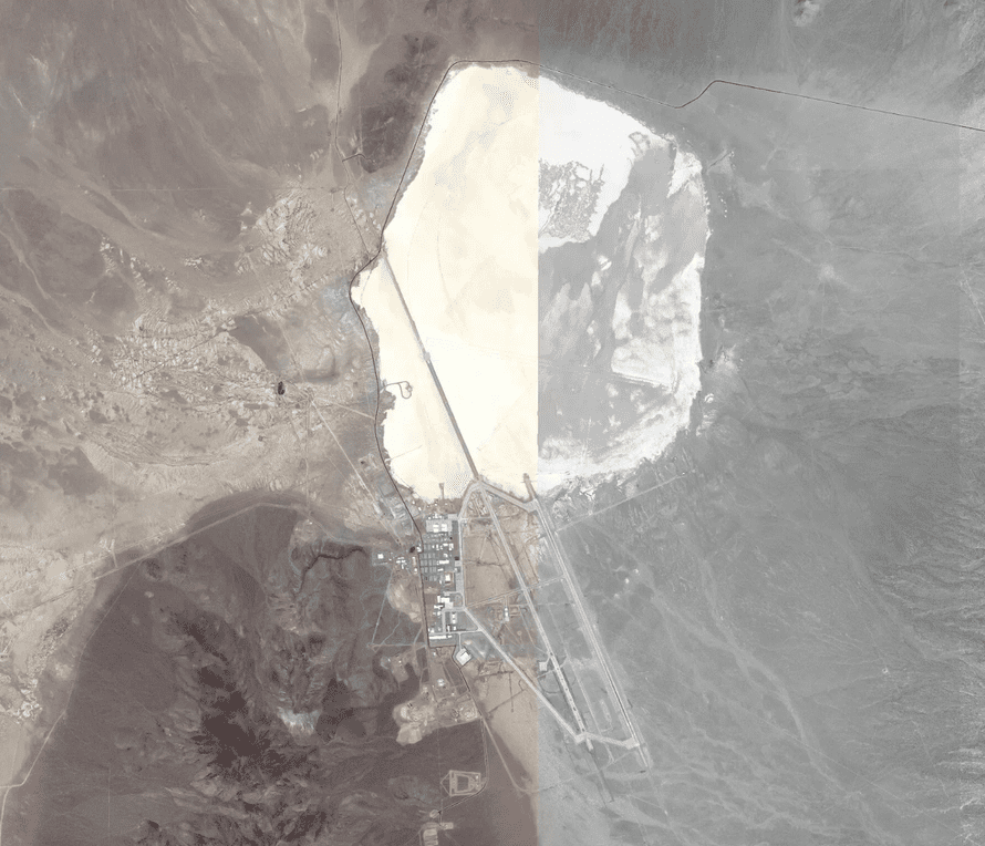 Area 51, with a lone cyclist marked on the map.