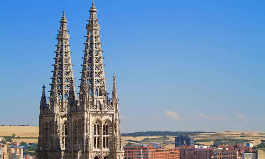 The Gothic pinnacles of Burgos Cathedral.