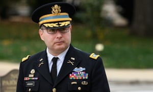 Lt Col Alexander Vindman arrives for a closed-door deposition at the US Capitol in Washington DC on Tuesday.