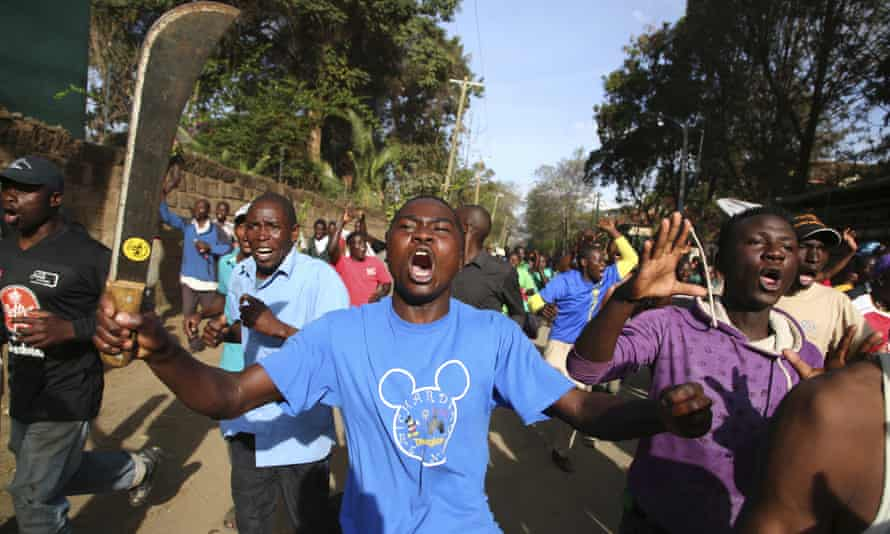 A Nasa opposition supporter wielding a machete in Kawangware.