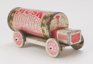 Musk Life Savers truck (early 1930s, Leckie and Gray) According to Jones, pull-along tinplate Life Savers trucks – produced from the early 1920s, in an assortment of 'flavours' – are 'without doubt some of the most beautiful toys to ever have been made in Australia'. Among collectors, they are also some of the most rare, thanks to 'the ephemeral nature of the sweet tin and the fragility of the tinplate'.They were given away as part of a promotional campaign for the confectionary company that included actual touring trucks made up to look like Life Savers packets, which distributed the sweets.