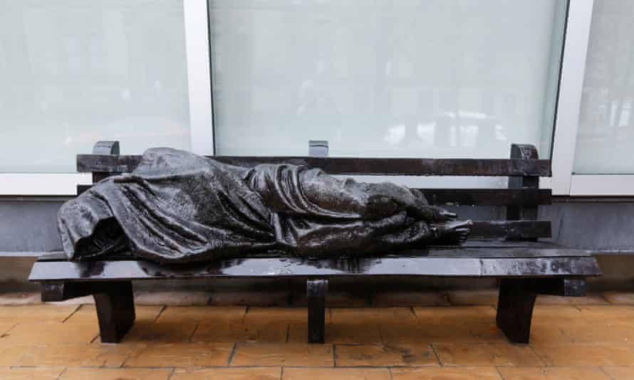 Canadian sculptor Tim Schmalz's statue Homeless Jesus in Toronto. In Toronto and the surrounding area, 'for every bedroom that a household actually needs, there's almost six empty bedrooms'.