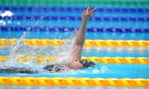 Gold medal winner Tupou Neiufi from New Zealand in action during the women's 100m backstroke S8 final.