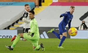 Chelsea's Timo Werner misses a chance to score.