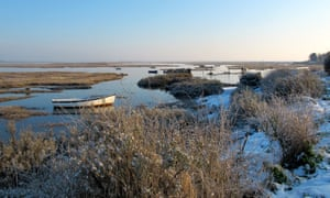 view of snowy coast and water, Brancaster Staithe