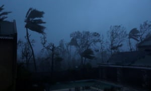 Trees sway with the wind as Hurricane Matthew passes through Haiti.