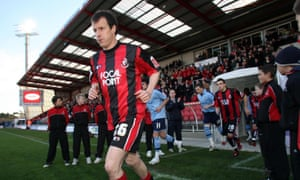 Different times at Dean Court: Steve Claridge trots out for his 1,000th professional game.