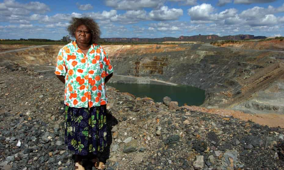 Senior traditional owner Yvonne Margarula of the Mirarr people stands in front of the Ranger uranium mine's pit number three in Kakadu National Park.