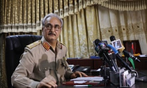 Khalifa Haftar, pictured in 2014. 'An estimated 1,000 people have died since he began his assault this spring.'