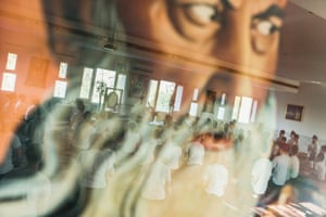 Students at Miri Piri Academy practice Kundalini yoga kriyas in the reflection of Yogi Bhajan, Amritsar, India, March 29, 2013Based on the teachings of the great yogi and founder, Siri Singh Sahib Yogi Bhajan, the school's program and curriculum combines academic study with mastery of Kundalini yoga and meditation