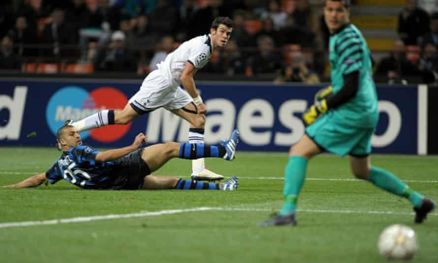 Gareth Bale scored a brilliant hat-trick at the San Siro, striking each shot low past Júlio César into the far corner.