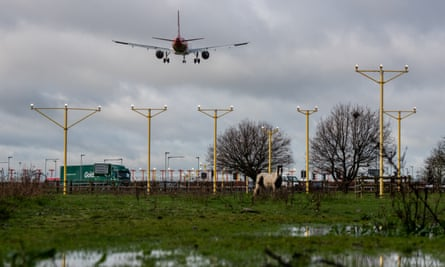 Aircraft come in to land at Heathrow airport