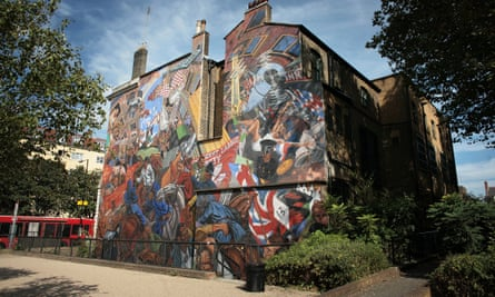 The Cable Street mural, commemorating the Battle of Cable Street against Oswald Mosley's Blackshirts in 1936.