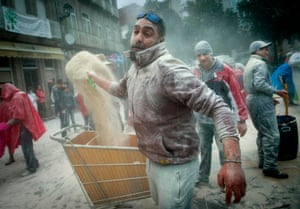 The throwing of flour is seen as a kind of purification ritual