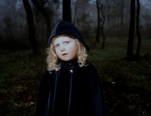 A small girl in the woods