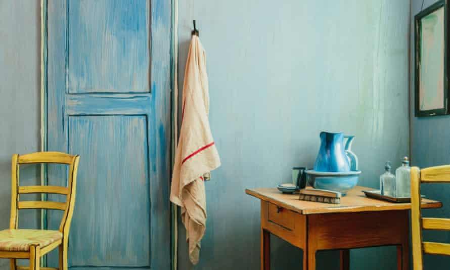 Interior shot of Art Institute of Chicago's 3D replica of Van Gogh's Bedroom in Arles