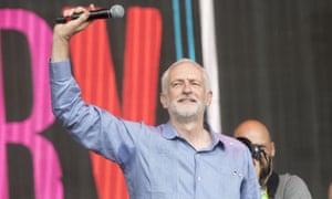 Jeremy Corbyn at Glastonbury Festival, June 2017.