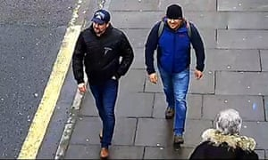 Ruslan Boshirov and Alexander Petrov, identified as Russian intelligence officers, are captured on CCTV in Salisbury.