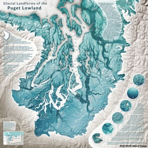 Glacial Landforms of the Puget Lowland, by Daniel Coe of the Washington Geological Survey, was created to show and explain many of the fascinating landforms that the Puget lobe of the Cordilleran ice sheet left behind in the Puget Lowland region of Washington.