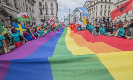 A huge rainbow flag represented all nations