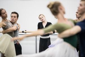 Company artist Lou Spichtig, centre, watches rehearsals of Act 1, Scene 4 – Cécile's débutante party
