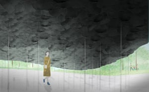 A sketch of the interior of Junya Ishigami's 2019 Serpentine summer pavilion.