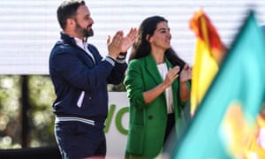 Rocio Monasterio and Vox leader Abascal at a rally in Madrid.