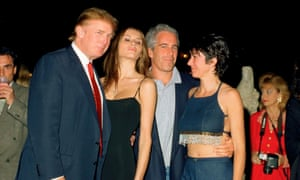 Donald Trump and his then girlfriend Melania Knauss, Jeffrey Epstein and Ghislaine Maxwell at Mar-a-Lago in Palm Beach, Florida, on 12 February 2000.