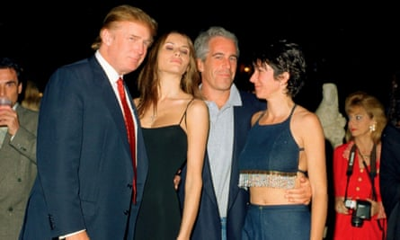 Donald and Melania Trump, Jeffrey Epstein and Ghislaine Maxwell at the Mar-a-Lago club in Palm Beach, Florida on 12 February 2000.