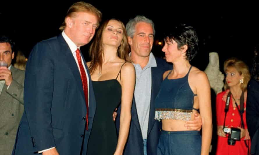Donald Trump, Melania Trump (then Knauss), Jeffrey Epstein and Ghislaine Maxwell at the Mar-a-Lago club in Palm Beach, Florida on 12 February 2000.