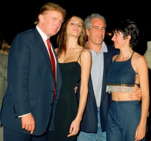 Maxwell with (from left) Donald Trump, Melania and Epstein, in 2001, at Mar-a-Lago.