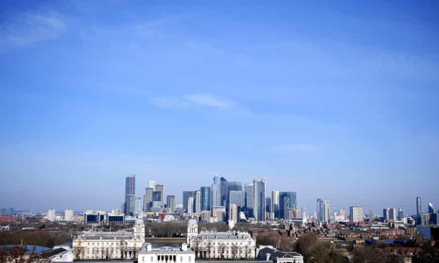 Clear skies over the skyscrapers of the Canary Wharf area of London this week.
