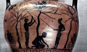 'The freeborn men are elsewhere, safe' … an Attic Greek amphora depicting olive-gathering from c520BCE.