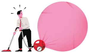 Man vacuuming into big pink balloon