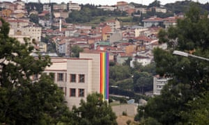 A rainbow flag adorns the side of the US embassy in Istanbul