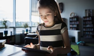 A girl using a tablet